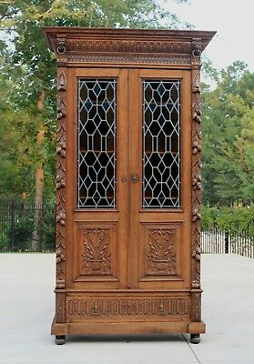 Antique French Oak Renaissance Black Forest Stained Glass Cabinet Bookcase LION