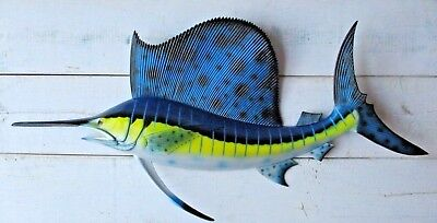 "Sailfish Hand Painted 28"" Replica Wall Mount Sculpture Game Fishing Salt Water"
