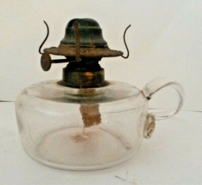 Antique Clear Glass Applied Handle Finger Oil Lamp Late 1800's
