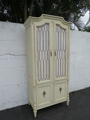 French Carved Painted Tall Armoire Wardrobe 8995