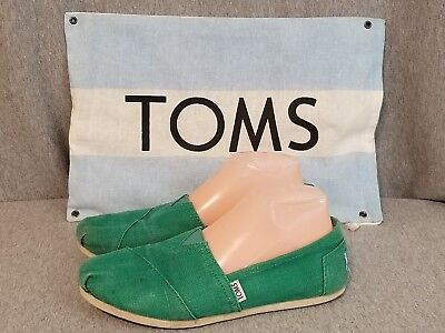 TOMS Shoes Women's Size W 8 Green Slip On Canvas