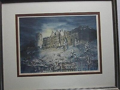 "8Painting:  'MOONLIGHT OVER HEIDELBURG""  Signed by Linda Thomas"