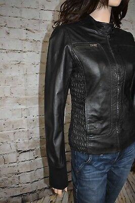 Italian Liu Jo Jeans Sexy Chic Fitted Ruched Black Leather Moto Biker  Jacket XS 7ae4fc94ac5