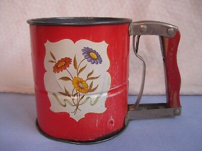 Vintage Hand Sift Kitchen Flour Sifter - Red Metal 3 Screen - Floral