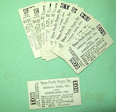 Vintage UNION PACIFIC STAGES INC.  TICKET  Bridal Veil Oregon to Portland Oregon