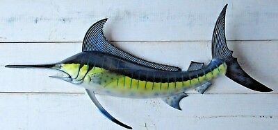 "Marlin Hand Painted 28"" Replica Wall Mount Sculpture Game Fishing Salt Water"