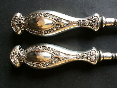 Large Pair Of Antique Sterling Silver Shoe Horn & Buttonhook 1913