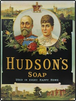 Tin Sign Hudson's Soap Used in Every Happy Home 30 x 40cm