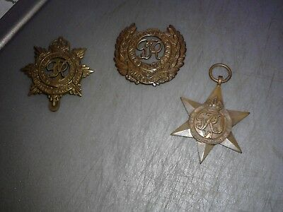 vintage medals x 3 two other items