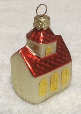 "Little Church Blown Glass Christmas Ornament from Slovakia ~ 2.75"" T X 1.75"" W"