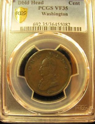 Washington Colonial Double Head Token PCGS VF35 Secure Shield Holder