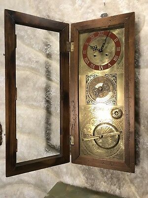 Vtg Unusual Germaney Double Bell Strikes Wall Brass Calendar&clock&zodiac Signs