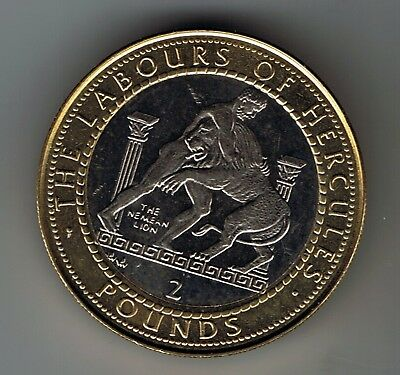 1997 Gibraltar £2 Two Pounds coin : Labours of Hercules - The Nemean Lion