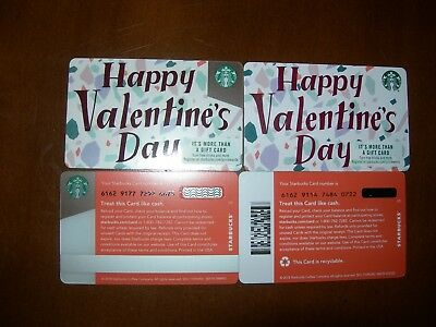 2 Different 2019 #6162 Plastic & Recyclable Valentine  Starbucks Cards Htf