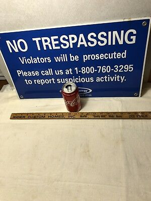 Vintage Consumers Energy Porcelain Sign No Trespassing