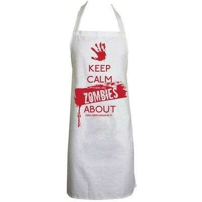 Apron Keep Calm There's Zombies About White