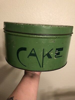 Old Vintage Tin Cake Container