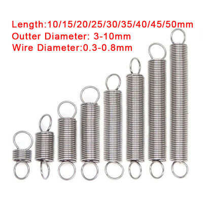 Tension Spring 0.3-0.8mm Expansion Extension Expanding Springs All Sizes 304
