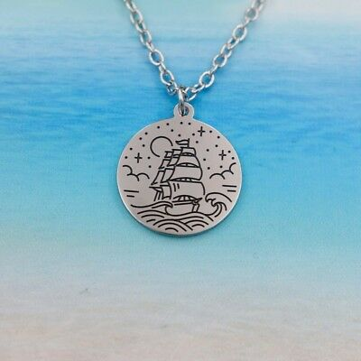 Lovely Stainless Steel Adventurous Nautical Necklaces Ocean Sailing Boat Jewelry