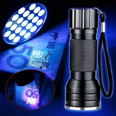 21LED UV Ultra Violet Flashlight 395nm Mini Black Aluminum Torch Light Lamp