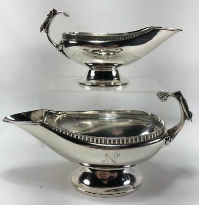 RARE Antique 19thc Aesthetic Gorham Coin Silver Gravy Sauce Boats Hunted Rabbits