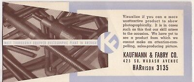 Chicago Il Advertising Ink Blotter Kaufmann & Fabry Co Photographic Plant *unuse