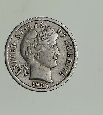 Higher Grade - 1904 Barber Liberty US Silver Dime - Great Detail in LIBERTY *581