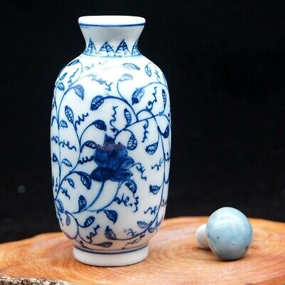 Chinese Collectible Blue And White Porcelain Handwork Flower leaf Snuff Bottle