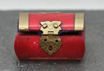 Vintage  Buffalo Bone Trinket Box Painted In Red Brass Adornments Velvet Lined