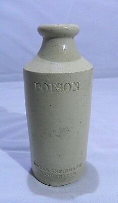 c1890 ROYAL INFIRMARY, MANCHESTER, ENGLAND, STONEWARE POISON BOTTLE.CLEAN.