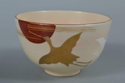 R6828: Japanese Kiyomizu-ware Colored porcelain Gold paint Bird pattern TEA BOWL