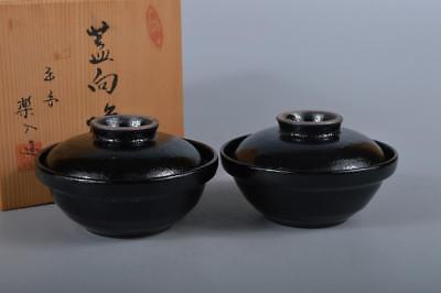 R5124: Japan Kiyomizu-ware Black glaze TEA BOWL/dish of soup 2pcs, w/signed box