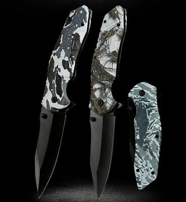 Camping Folding Pocket Knife Survival Hunting Fishing Outdoor With Flintstones