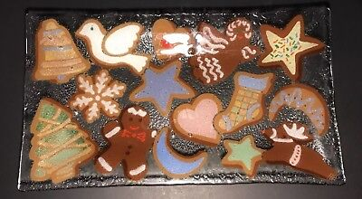 """Peggy Karr 13 1/2"""" Christmas Cookie Fused Glass Plate Tray"""