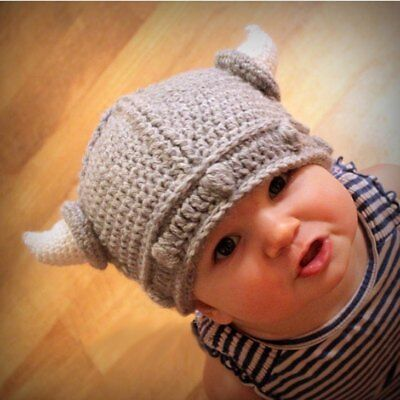 2019 new Kids Baby Knitted Wool Yarn Crochet Beanie Viking Horn Warm Cap Hats L