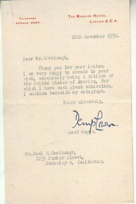 Sir Denis Lowson Autographed Letter 1950 1st Baronet / London Lord Mayor