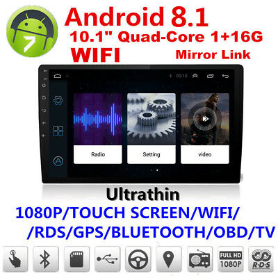 10.1in Car Android Bluetooth Stereo Radio Double 2DIN Player GPS Wifi Universal^