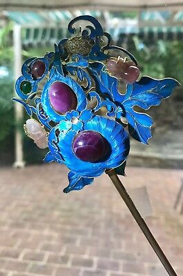 Chinese Antique Court Kingfisher Hair Pin With Gemstones