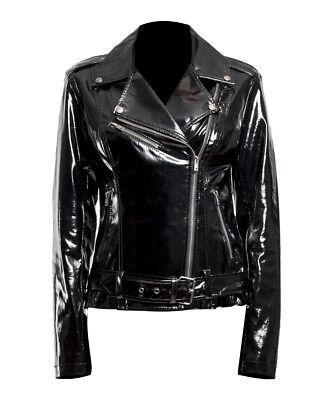 Women Gothic Moto Biker Jacket PVC Vinyl Punk Rocker Motorcycle Jacket