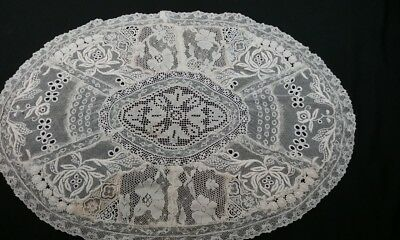 "Antique French Normandy Lace Table Centerpiece Doily 11""x15"" Mixed Laces FRANCE"
