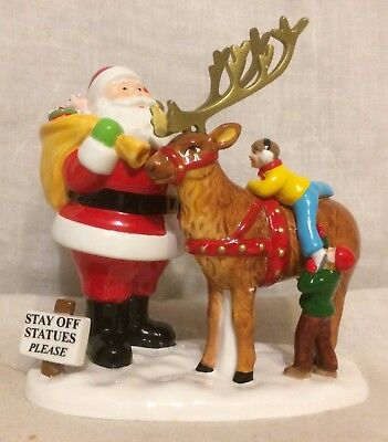 Department 56 Snow Village Main Street Town Santa with Reindeer #56.55254 - MIB