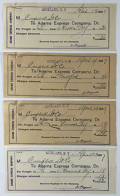 Lot of Four Adams Express Company Freight Receipts Form 124 Rockland NY 1897