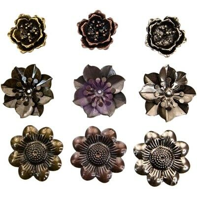 "PM - Finnabair Mechanicals Metal Embellishments - Flowers, 1.5"" - 2"" 9/Pkg"