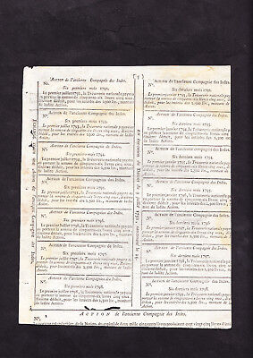 ACTION de L'ANCIENNE Cie. DES INDES -1792 - FRENCH (EAST) INDIA COMPAGNIE SHARE