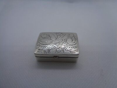Vintage Engraved Sterling Silver Pill Box