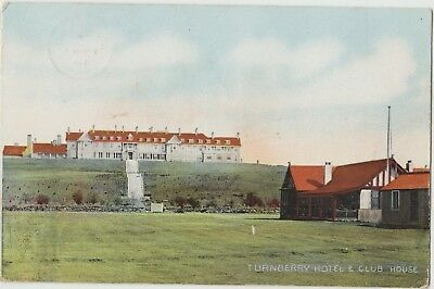TURNBERRY HOTEL GOLF CLUB HOUSE AYRSHIRE Scotland Colour Used PC Maidens 1918