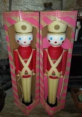 2 Vintage 1950's Elect. Light Up Christmas Toy Soldier w/orig boxes - Blow Molds
