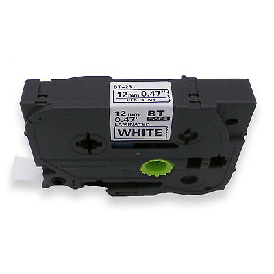 Black on White Laminated TZe TZ Label Tape Compatible for Brother P-touch 12mm