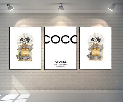 SET OF 3 COCO CHANEL No.5 PARFUM A4 GOLD PRINTS FOR HOME DECOR DRESSING ROOM