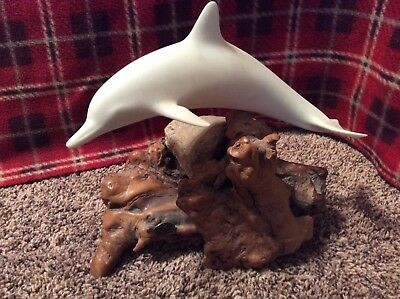 "Vintage LARGE DOLPHIN Sculpture JOHN PERRY 11"" long Signed Statue Wood Rock"